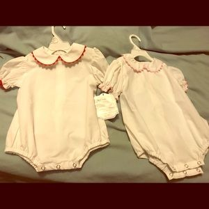Hand made dressy onesies with trim pink red, 18m